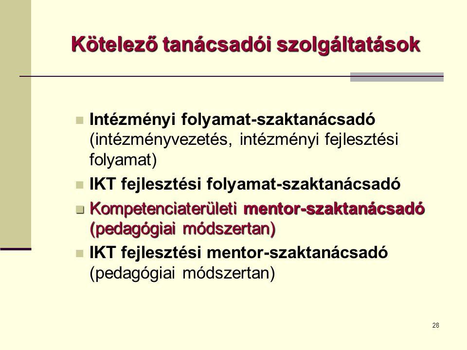 28 Kötelező tanácsadói szolgáltatások  Intézményi folyamat-szaktanácsadó (intézményvezetés, intézményi fejlesztési folyamat)  IKT fejlesztési folyamat-szaktanácsadó  Kompetenciaterületi mentor-szaktanácsadó (pedagógiai módszertan)  IKT fejlesztési mentor-szaktanácsadó (pedagógiai módszertan)