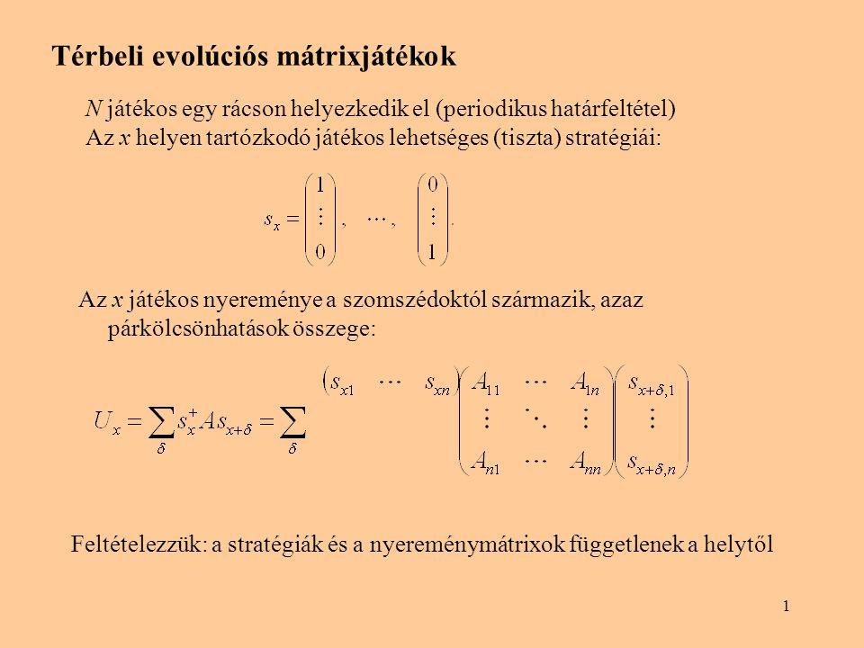 1 Térbeli evolúciós mátrixjátékok N játékos egy rácson helyezkedik el (periodikus határfeltétel) Az x helyen tartózkodó játékos lehetséges (tiszta) stratégiái: Az x játékos nyereménye a szomszédoktól származik, azaz párkölcsönhatások összege: Feltételezzük: a stratégiák és a nyereménymátrixok függetlenek a helytől
