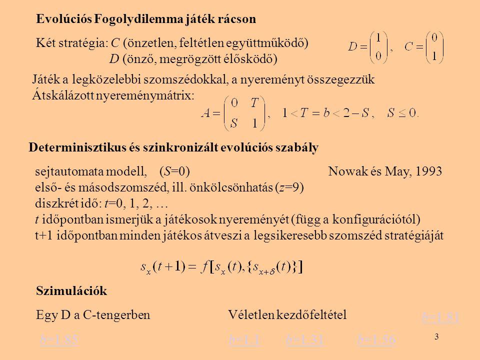 3 Evolúciós Fogolydilemma játék rácson Két stratégia: C (önzetlen, feltétlen együttműködő) D (önző, megrögzött élősködő) Játék a legközelebbi szomszédokkal, a nyereményt összegezzük Átskálázott nyereménymátrix: Determinisztikus és szinkronizált evolúciós szabály sejtautomata modell, (S=0) Nowak és May, 1993 első- és másodszomszéd, ill.
