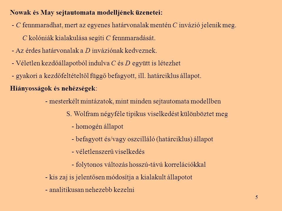 5 Nowak és May sejtautomata modelljének üzenetei: - C fennmaradhat, mert az egyenes határvonalak mentén C invázió jelenik meg. C kolóniák kialakulása
