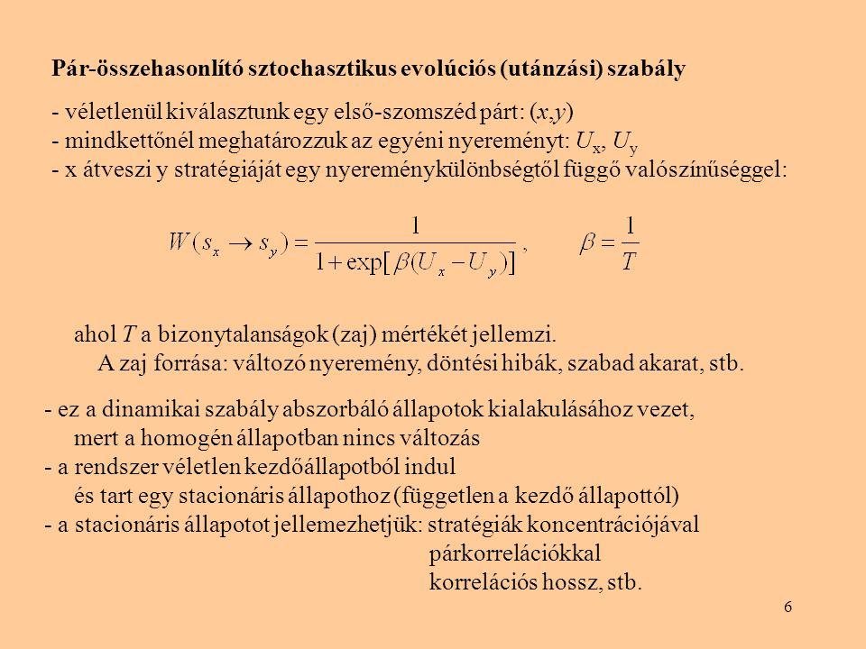 6 Pár-összehasonlító sztochasztikus evolúciós (utánzási) szabály - véletlenül kiválasztunk egy első-szomszéd párt: (x,y) - mindkettőnél meghatározzuk az egyéni nyereményt: U x, U y - x átveszi y stratégiáját egy nyereménykülönbségtől függő valószínűséggel: ahol T a bizonytalanságok (zaj) mértékét jellemzi.
