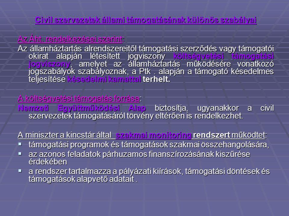 Civil szervezetek állami támogatásának különös szabályai Az Áht.