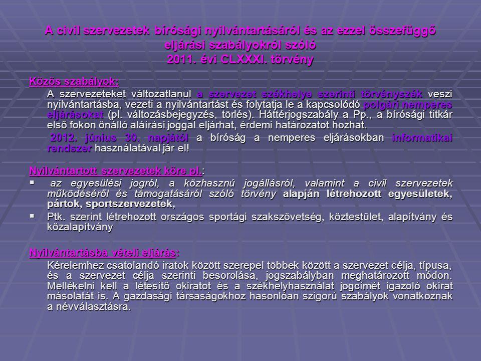 A civil szervezetek bírósági nyilvántartásáról és az ezzel összefüggő eljárási szabályokról szóló 2011.