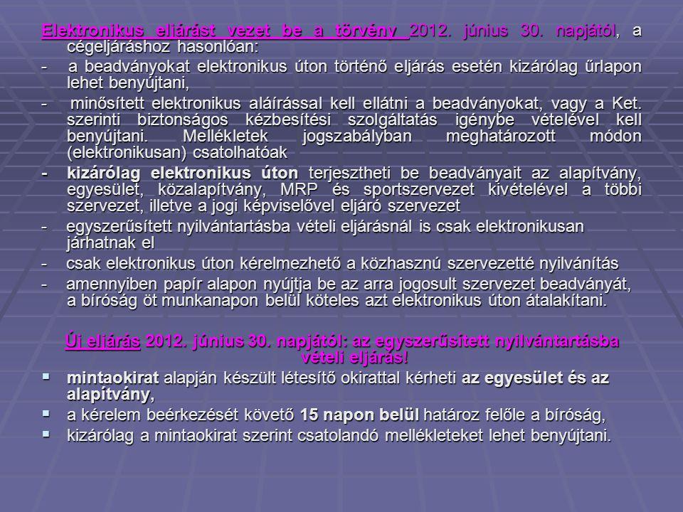 Elektronikus eljárást vezet be a törvény 2012.június 30.