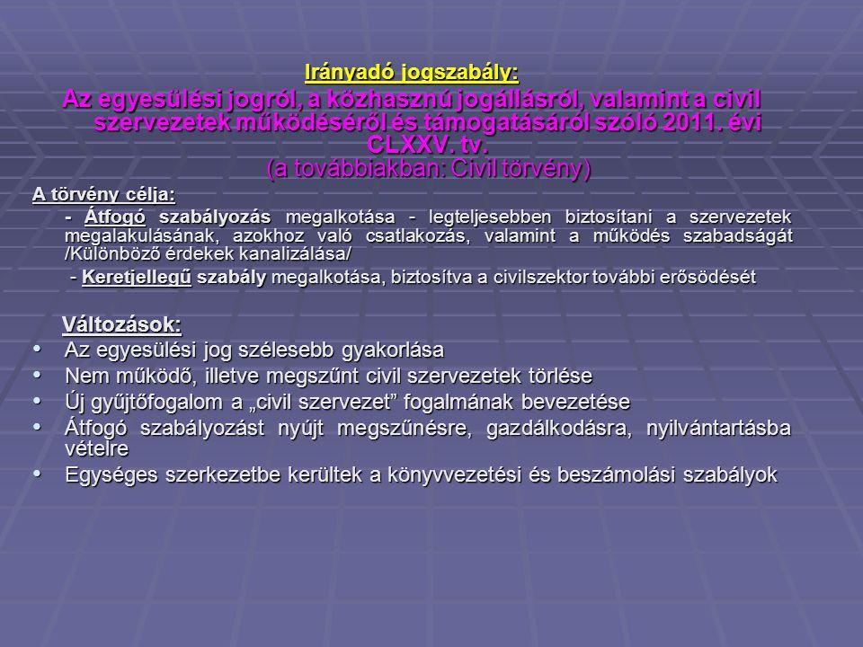 Irányadó jogszabály: Az egyesülési jogról, a közhasznú jogállásról, valamint a civil szervezetek működéséről és támogatásáról szóló 2011.
