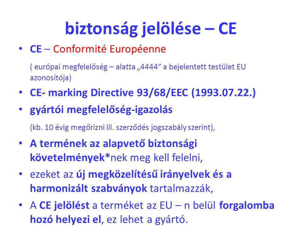 """biztonság jelölése – CE • CE – Conformité Européenne ( európai megfelelőség – alatta """"4444"""" a bejelentett testület EU azonosítója) • CE- marking Direc"""