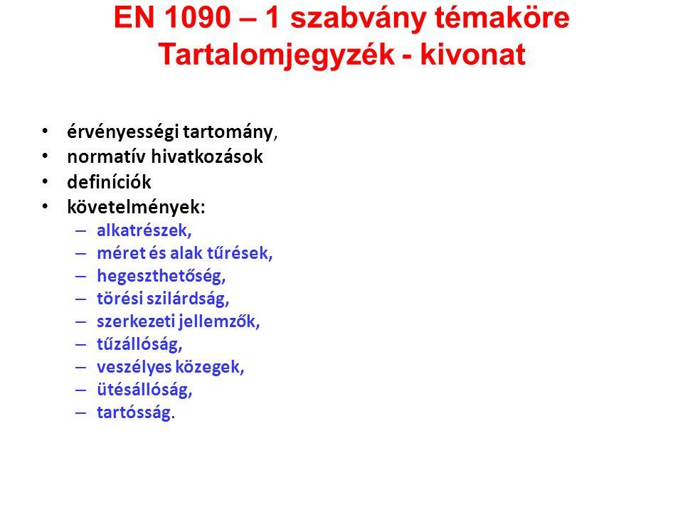 EN 1090 – 1 szabvány témaköre Tartalomjegyzék - kivonat • érvényességi tartomány, • normatív hivatkozások • definíciók • követelmények: – alkatrészek,
