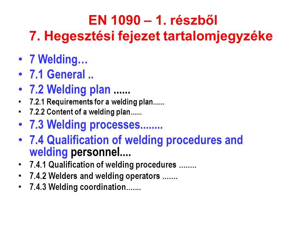 EN 1090 – 1. részből 7. Hegesztési fejezet tartalomjegyzéke • 7 Welding… • 7.1 General.. • 7.2 Welding plan...... • 7.2.1 Requirements for a welding p