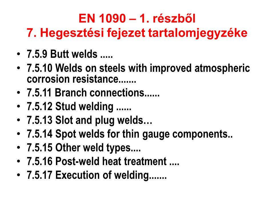 EN 1090 – 1. részből 7. Hegesztési fejezet tartalomjegyzéke • 7.5.9 Butt welds..... • 7.5.10 Welds on steels with improved atmospheric corrosion resis