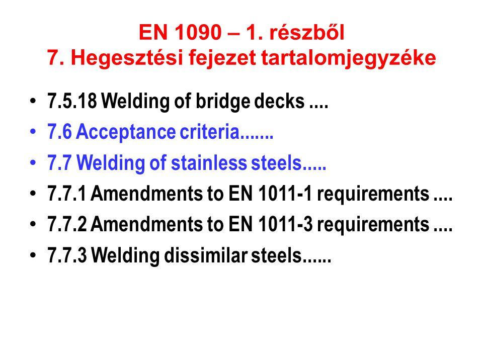 EN 1090 – 1. részből 7. Hegesztési fejezet tartalomjegyzéke • 7.5.18 Welding of bridge decks.... • 7.6 Acceptance criteria....... • 7.7 Welding of sta