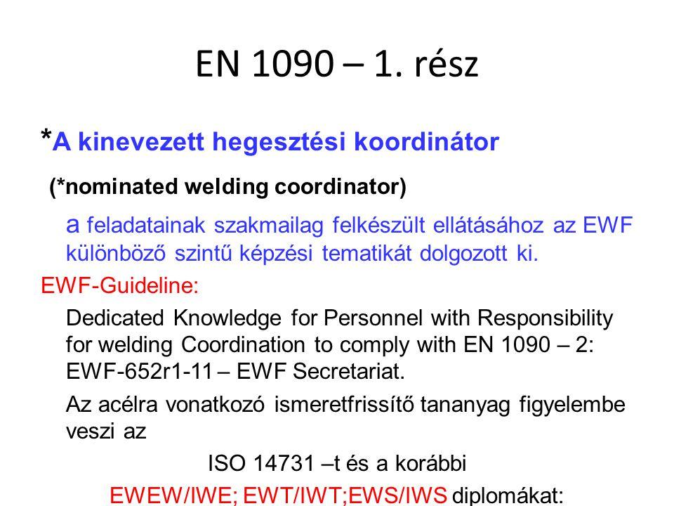 EN 1090 – 1. rész * A kinevezett hegesztési koordinátor (*nominated welding coordinator) a feladatainak szakmailag felkészült ellátásához az EWF külön