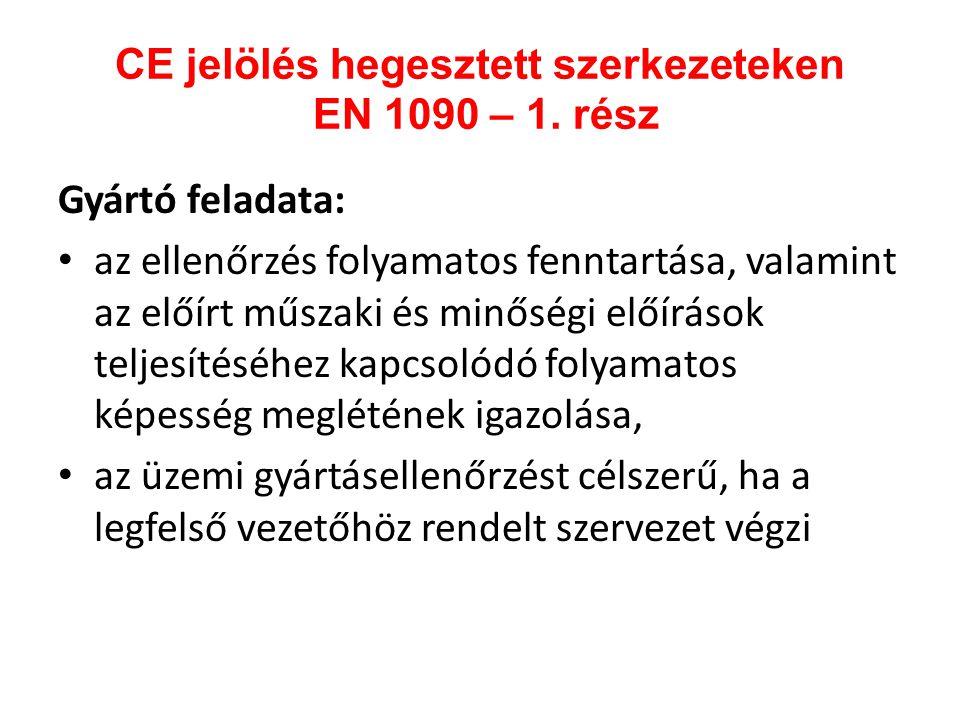 CE jelölés hegesztett szerkezeteken EN 1090 – 1. rész Gyártó feladata: • az ellenőrzés folyamatos fenntartása, valamint az előírt műszaki és minőségi