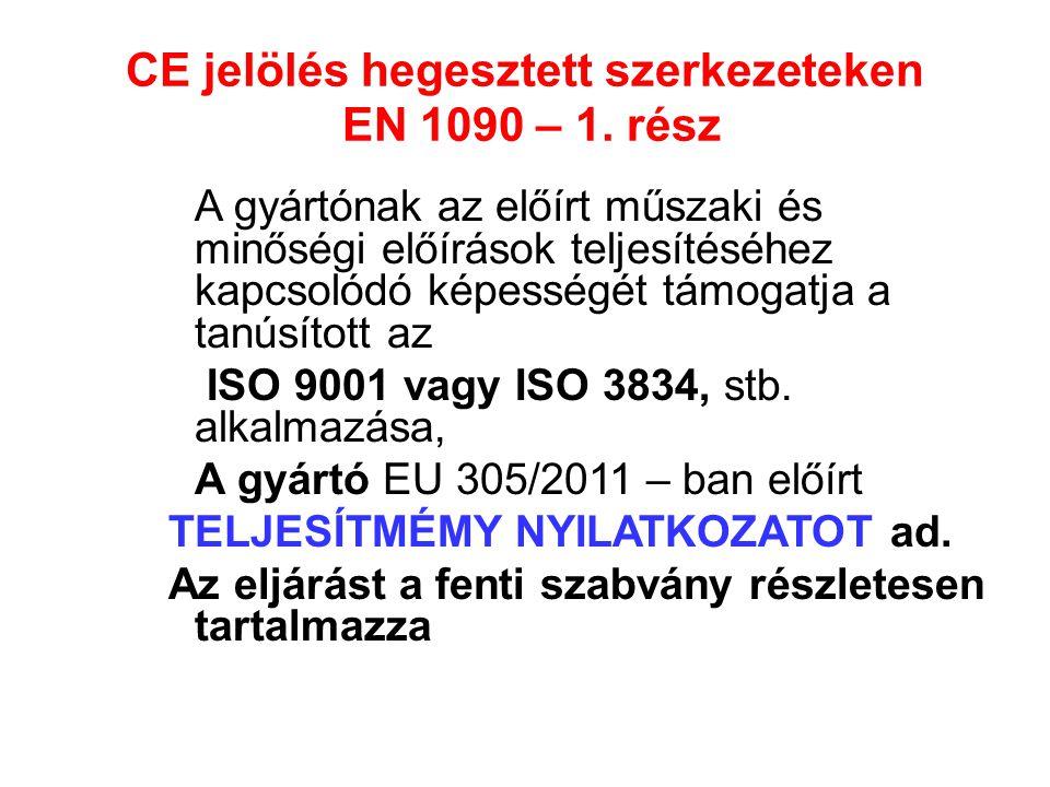 CE jelölés hegesztett szerkezeteken EN 1090 – 1. rész A gyártónak az előírt műszaki és minőségi előírások teljesítéséhez kapcsolódó képességét támogat