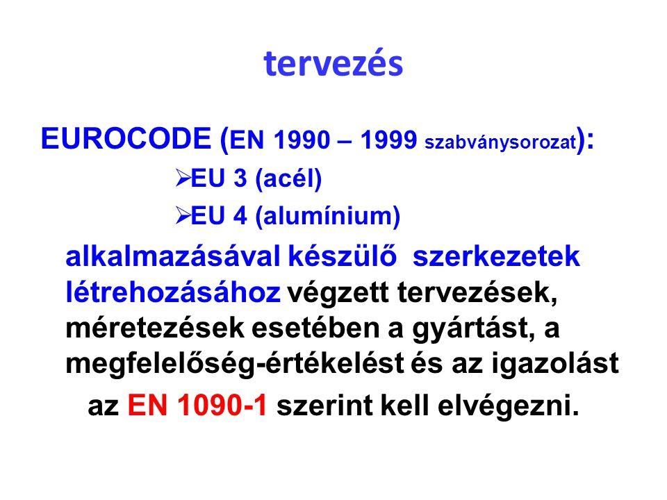 tervezés EUROCODE ( EN 1990 – 1999 szabványsorozat ):  EU 3 (acél)  EU 4 (alumínium) alkalmazásával készülő szerkezetek létrehozásához végzett terve