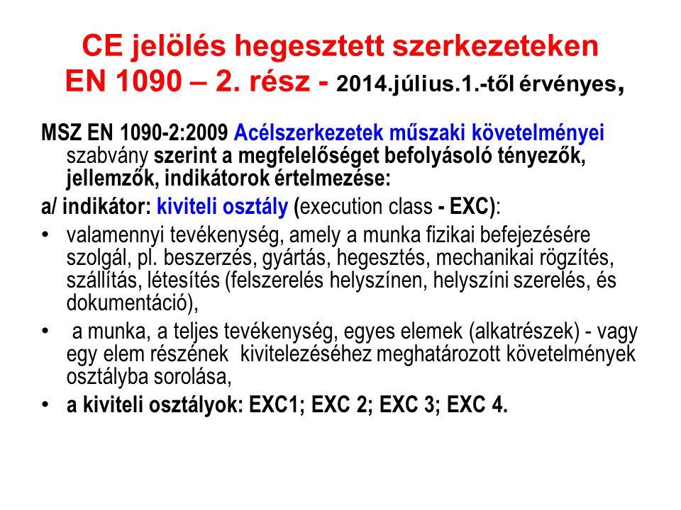 CE jelölés hegesztett szerkezeteken EN 1090 – 2. rész - 2014.július.1.-től érvényes, MSZ EN 1090-2:2009 Acélszerkezetek műszaki követelményei szabvány