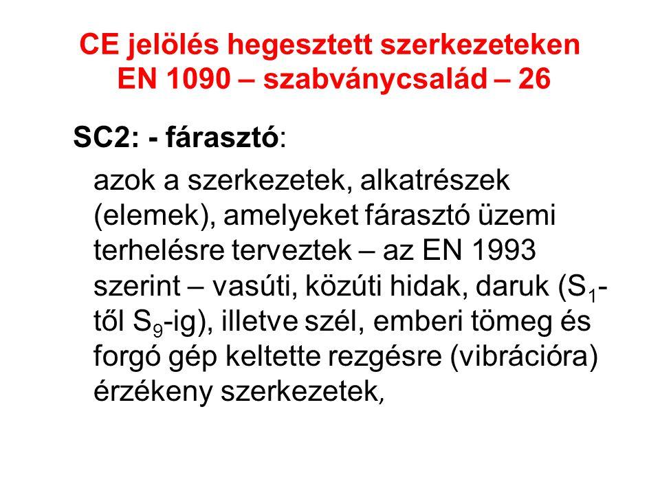 CE jelölés hegesztett szerkezeteken EN 1090 – szabványcsalád – 26 SC2: - fárasztó: azok a szerkezetek, alkatrészek (elemek), amelyeket fárasztó üzemi
