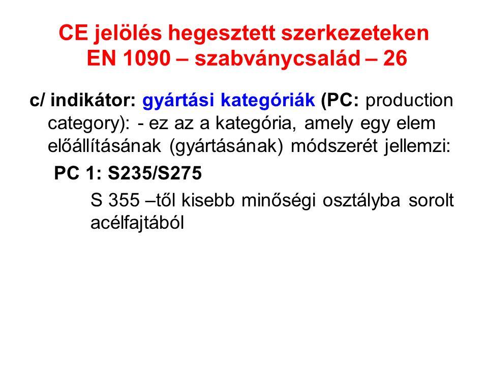 CE jelölés hegesztett szerkezeteken EN 1090 – szabványcsalád – 26 c/ indikátor: gyártási kategóriák (PC: production category): - ez az a kategória, am