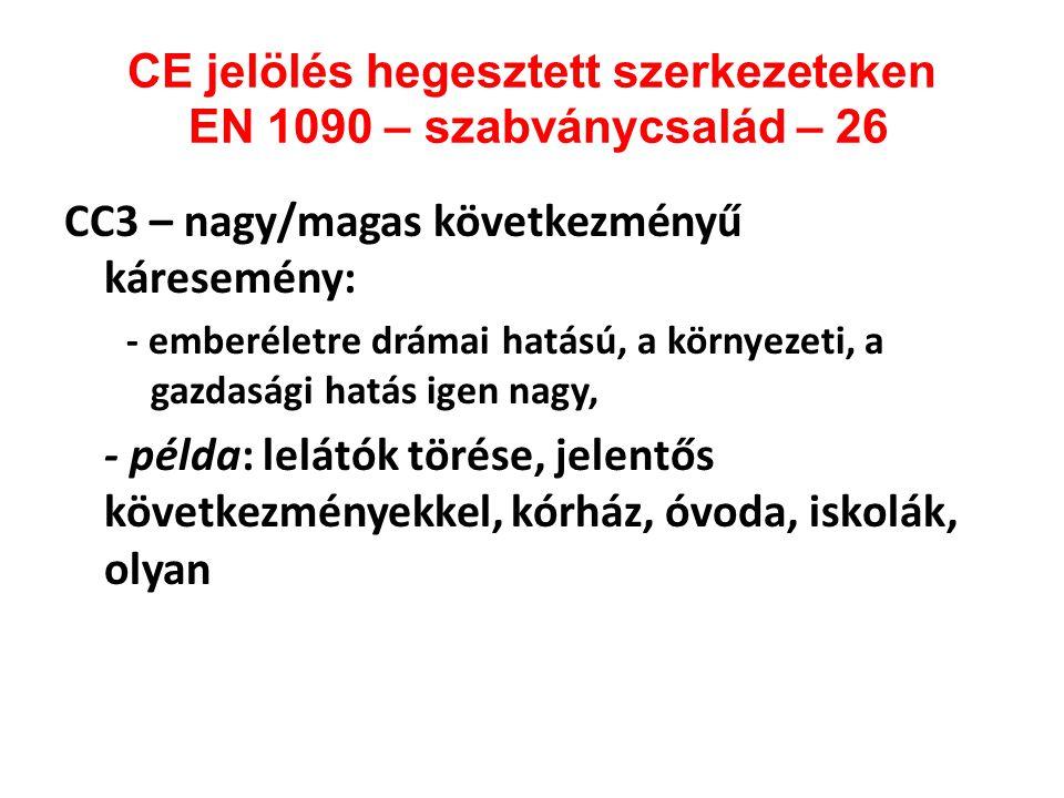 CE jelölés hegesztett szerkezeteken EN 1090 – szabványcsalád – 26 CC3 – nagy/magas következményű káresemény: - emberéletre drámai hatású, a környezeti