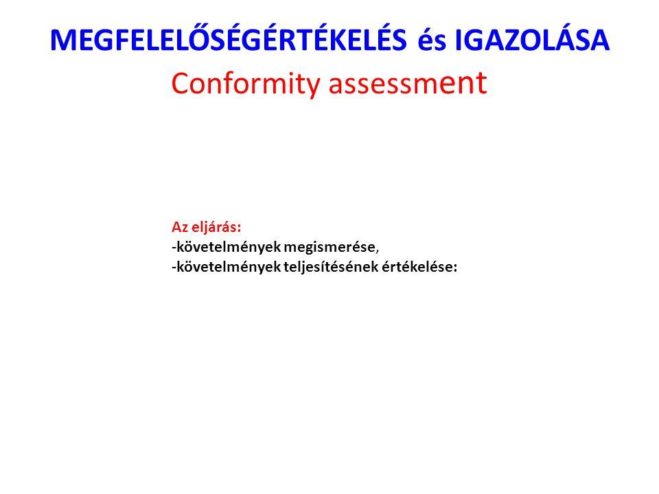 MEGFELELŐSÉGÉRTÉKELÉS és IGAZOLÁSA Conformity assessm ent Az eljárás: -követelmények megismerése, -követelmények teljesítésének értékelése: