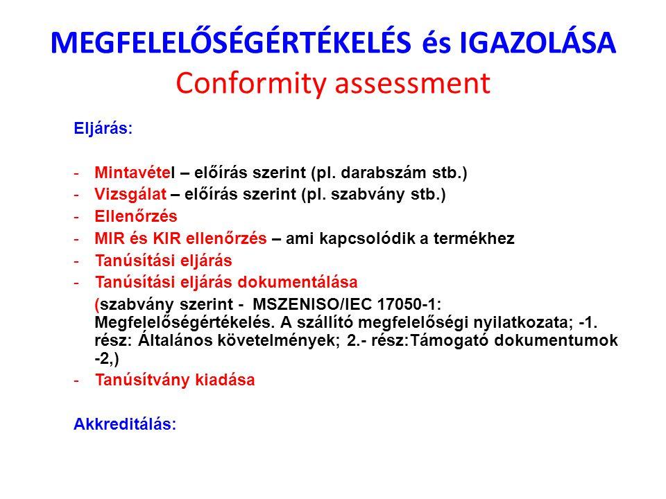 MEGFELELŐSÉGÉRTÉKELÉS és IGAZOLÁSA Conformity assessment Eljárás: -Mintavétel – előírás szerint (pl. darabszám stb.) -Vizsgálat – előírás szerint (pl.