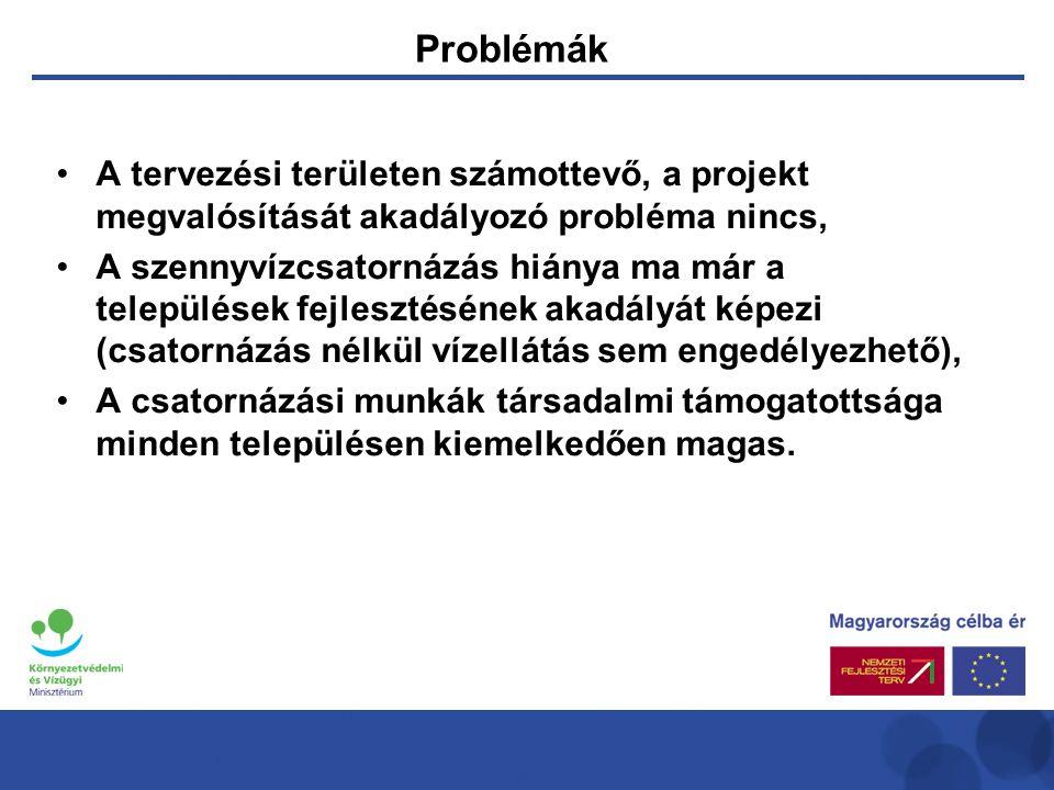 Problémák •A tervezési területen számottevő, a projekt megvalósítását akadályozó probléma nincs, •A szennyvízcsatornázás hiánya ma már a települések fejlesztésének akadályát képezi (csatornázás nélkül vízellátás sem engedélyezhető), •A csatornázási munkák társadalmi támogatottsága minden településen kiemelkedően magas.