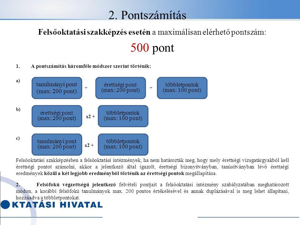 2. Pontszámítás Felsőoktatási szakképzés esetén a maximálisan elérhető pontszám: 500 pont 1.A pontszámítás háromféle módszer szerint történik: a) + +