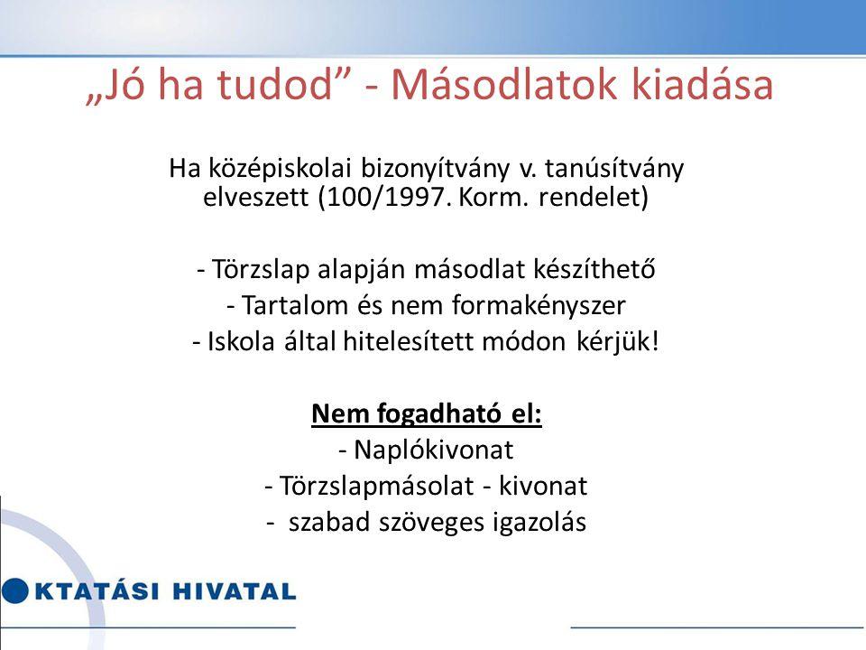 """""""Jó ha tudod"""" - Másodlatok kiadása Ha középiskolai bizonyítvány v. tanúsítvány elveszett (100/1997. Korm. rendelet) - Törzslap alapján másodlat készít"""