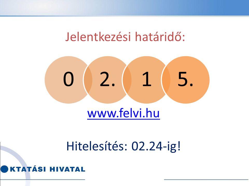 Jelentkezési határidő: www.felvi.hu Hitelesítés: 02.24-ig!