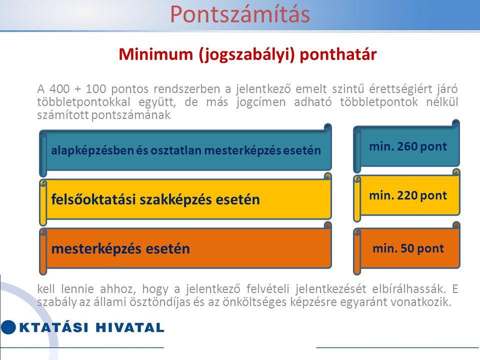 Pontszámítás Minimum (jogszabályi) ponthatár A 400 + 100 pontos rendszerben a jelentkező emelt szintű érettségiért járó többletpontokkal együtt, de má