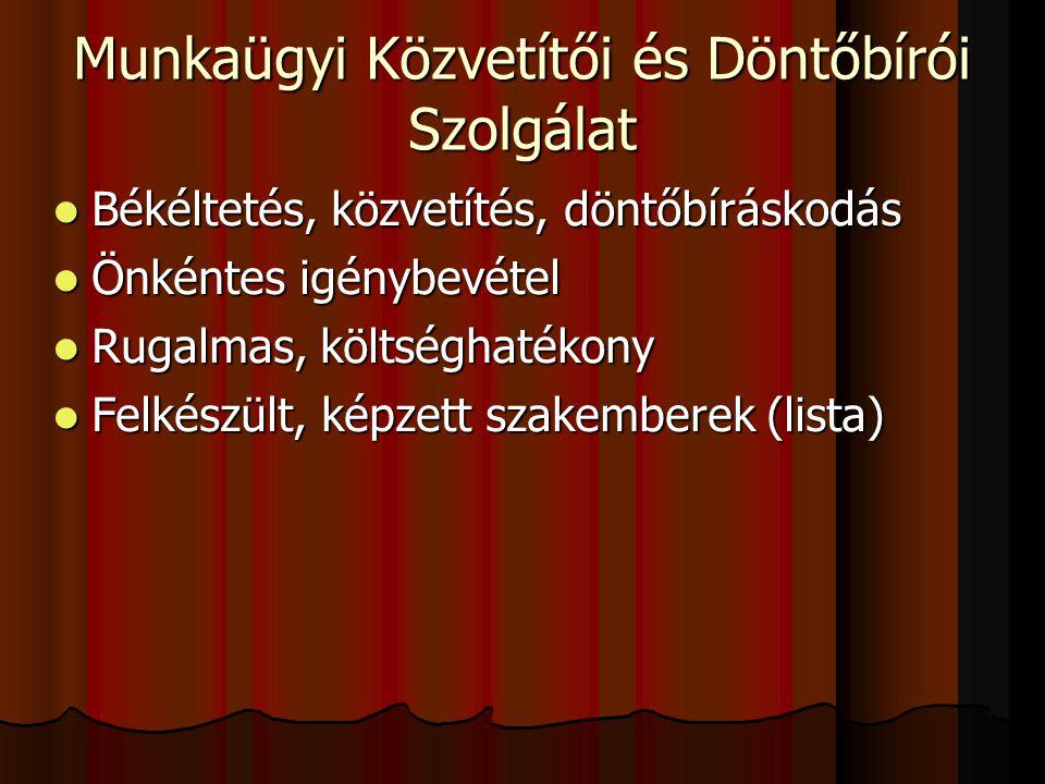Munkaügyi Közvetítői és Döntőbírói Szolgálat  Békéltetés, közvetítés, döntőbíráskodás  Önkéntes igénybevétel  Rugalmas, költséghatékony  Felkészült, képzett szakemberek (lista)