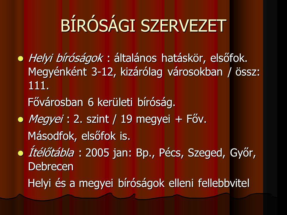 BÍRÓSÁGI SZERVEZET  Helyi bíróságok : általános hatáskör, elsőfok.