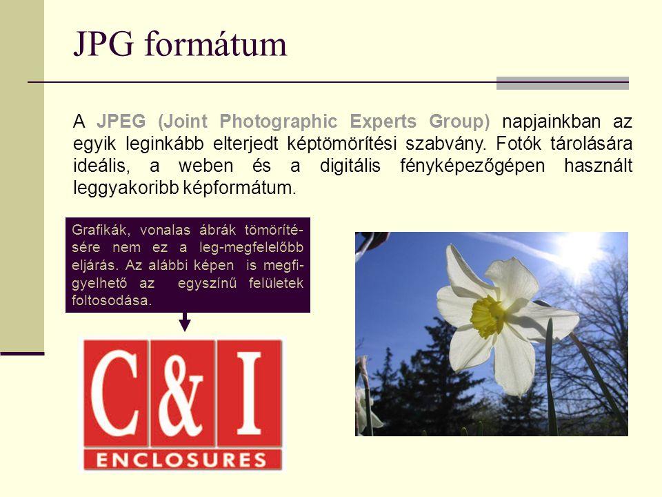 JPG formátum A JPEG (Joint Photographic Experts Group) napjainkban az egyik leginkább elterjedt képtömörítési szabvány. Fotók tárolására ideális, a we