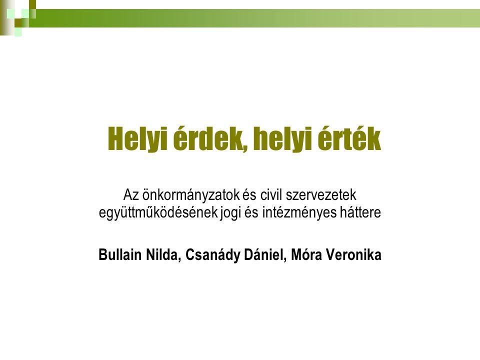 Helyi érdek, helyi érték Az önkormányzatok és civil szervezetek együttműködésének jogi és intézményes háttere Bullain Nilda, Csanády Dániel, Móra Veronika