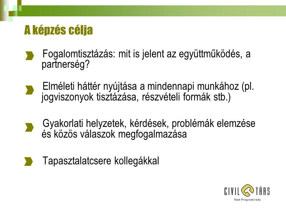A civil szervezetekkel kapcsolatos fő formák Civil közszerződések: közszolgáltatások biztosítására, kötelező vagy nem kötelező önkormányzati feladatok ellátására, fejlesztési feladatok megvalósítása (pl.