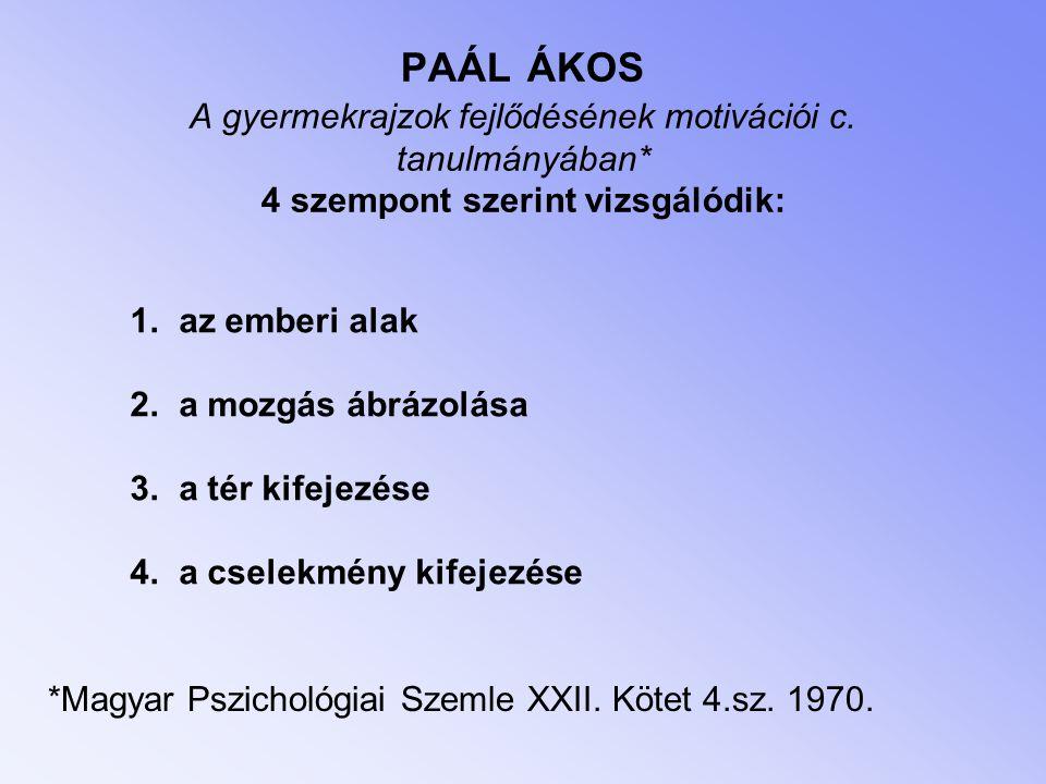 *Magyar Pszichológiai Szemle XXII. Kötet 4.sz. 1970. PAÁL ÁKOS A gyermekrajzok fejlődésének motivációi c. tanulmányában* 4 szempont szerint vizsgálódi