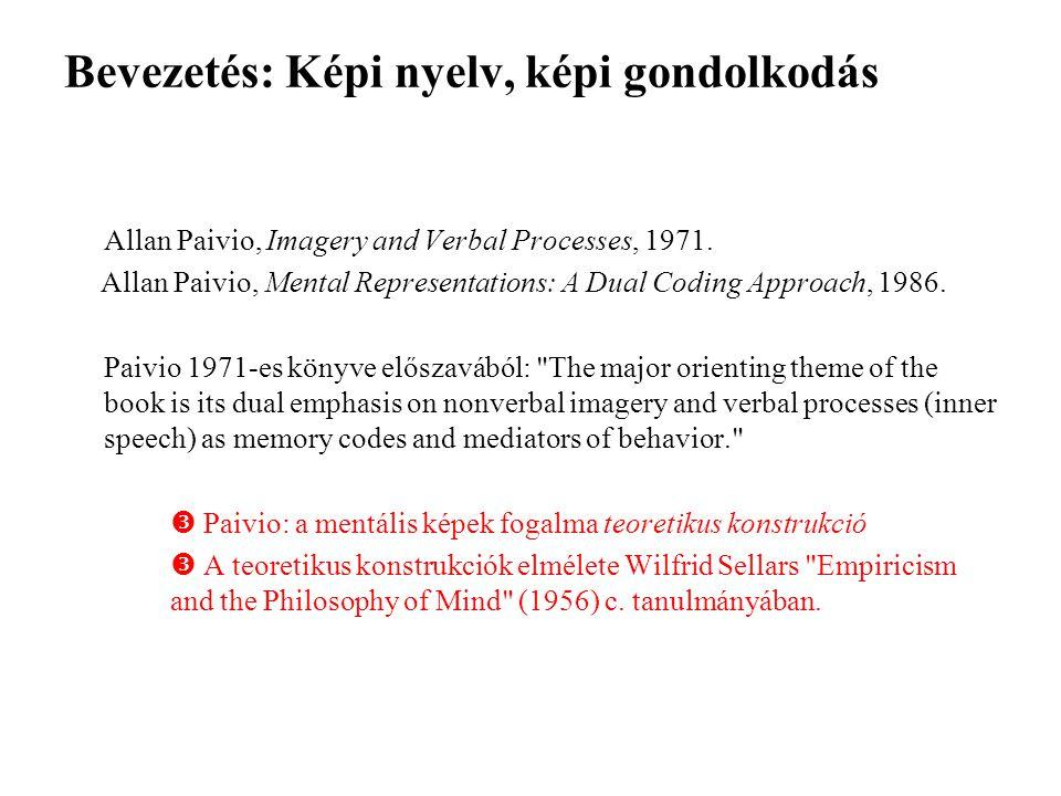 Bevezetés: Képi nyelv, képi gondolkodás Allan Paivio, Imagery and Verbal Processes, 1971.