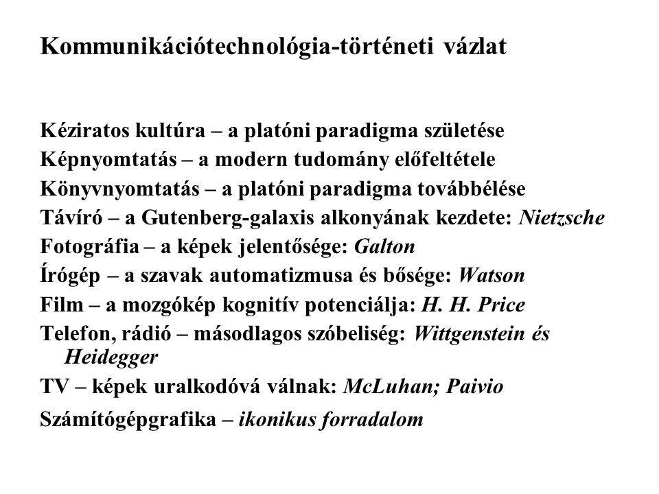 Kommunikációtechnológia-történeti vázlat Kéziratos kultúra – a platóni paradigma születése Képnyomtatás – a modern tudomány előfeltétele Könyvnyomtatá
