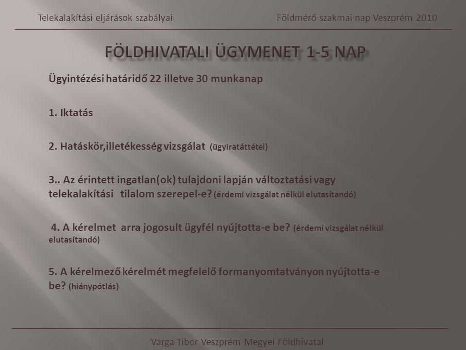 Ügyintézési határidő 22 illetve 30 munkanap 1. Iktatás 2. Hatáskör,illetékesség vizsgálat (ügyiratáttétel) 3.. Az érintett ingatlan(ok) tulajdoni lapj