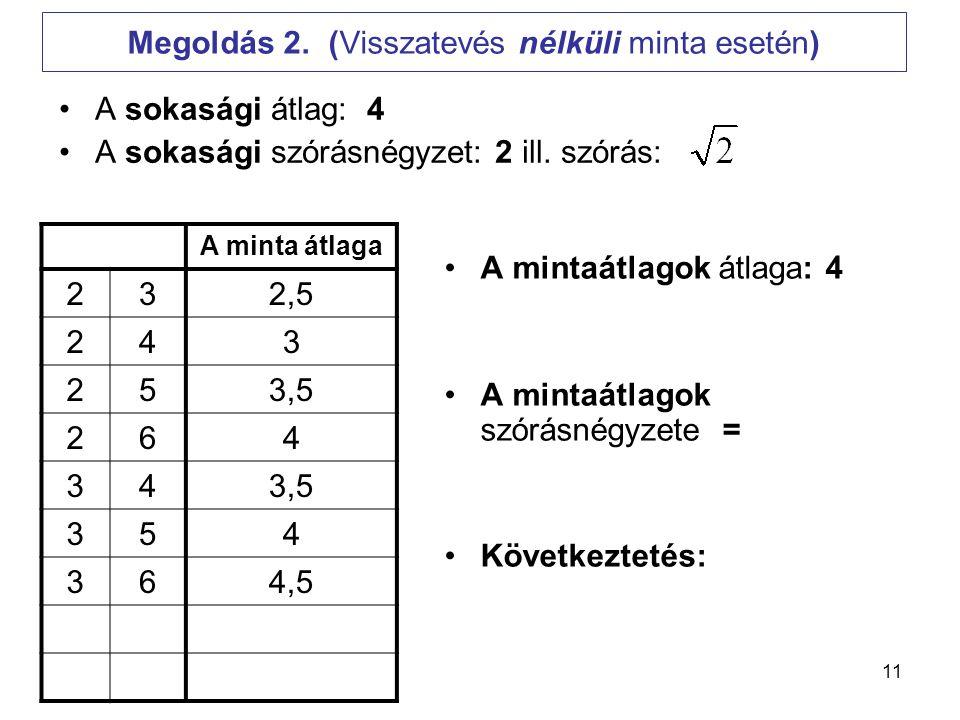 11 Megoldás 2. (Visszatevés nélküli minta esetén) •A sokasági átlag: 4 •A sokasági szórásnégyzet: 2 ill. szórás: •A mintaátlagok átlaga: 4 •A mintaátl