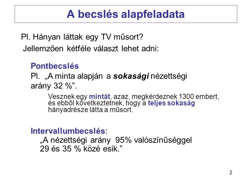 13 A becslő-fv és a jó becslés kritériumai A becslő fv fogalma: A sokasági paraméter becslésére szolgáló, a mintaelemek értékétől függő függvény.