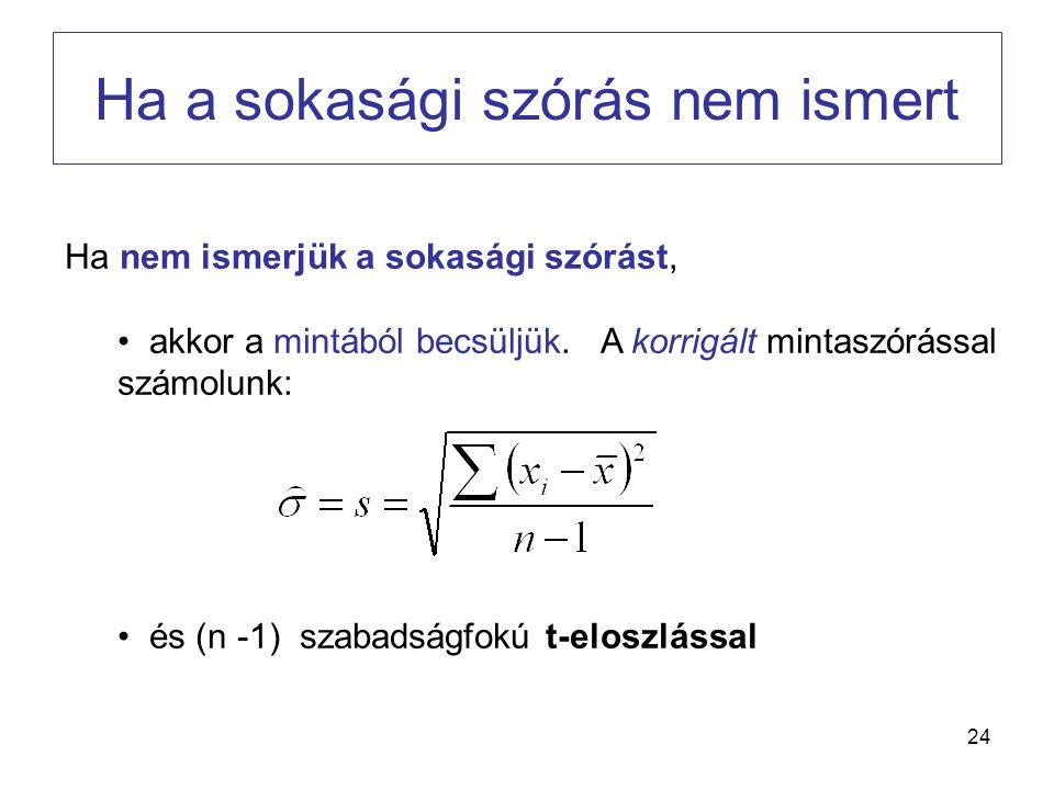 24 Ha a sokasági szórás nem ismert Ha nem ismerjük a sokasági szórást, • akkor a mintából becsüljük. A korrigált mintaszórással számolunk: • és (n -1)