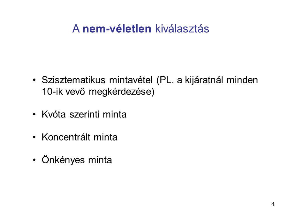 4 •Szisztematikus mintavétel (PL. a kijáratnál minden 10-ik vevő megkérdezése) •Kvóta szerinti minta •Koncentrált minta •Önkényes minta A nem-véletlen