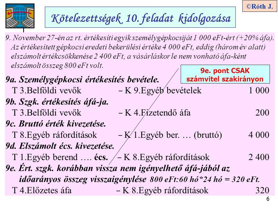 6 ©Róth J. Kötelezettségek 10. feladat kidolgozása 9. November 27-én az rt. értékesíti egyik személygépkocsiját 1 000 eFt-ért (+20% áfa). Az értékesít