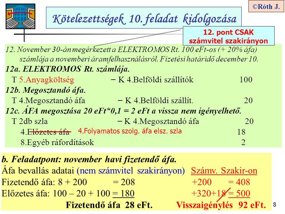 8 ©Róth J. Kötelezettségek 10. feladat kidolgozása b. Feladatpont: november havi fizetendő áfa. Áfa bevallás adatai (nem számvitel szakirányon) Számv.
