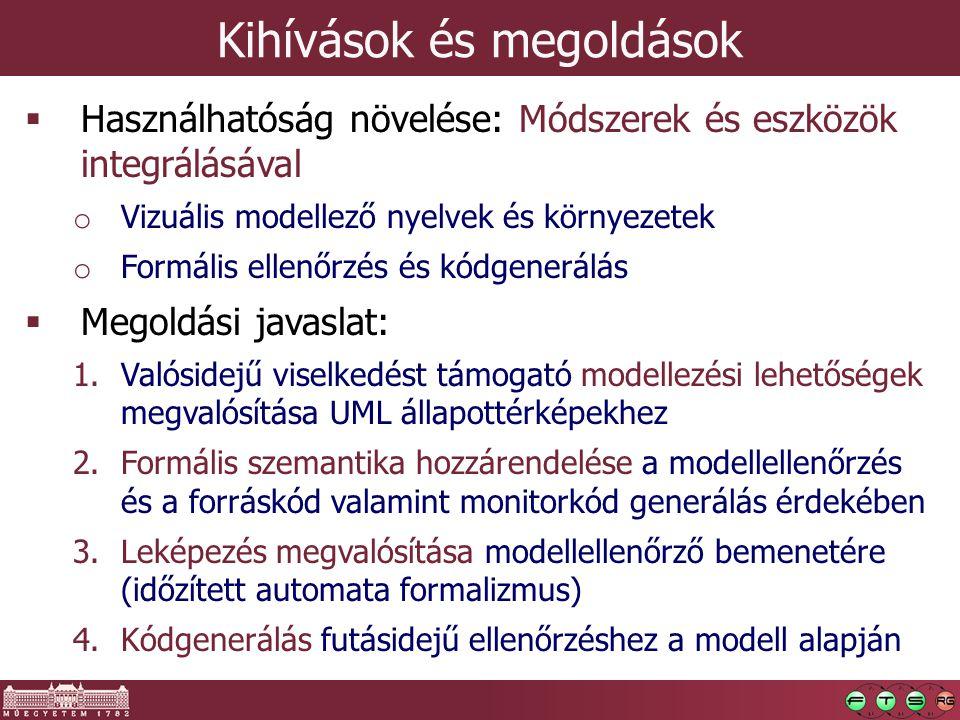Kihívások és megoldások  Használhatóság növelése: Módszerek és eszközök integrálásával o Vizuális modellező nyelvek és környezetek o Formális ellenőr
