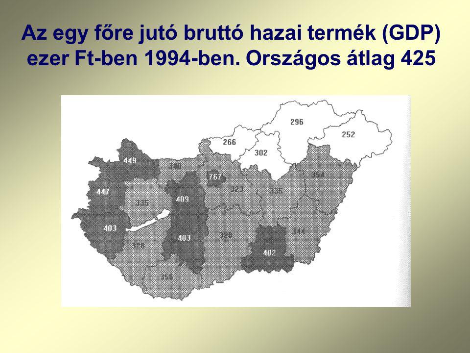 Az egy főre jutó bruttó hazai termék (GDP) ezer Ft-ben 1994-ben. Országos átlag 425