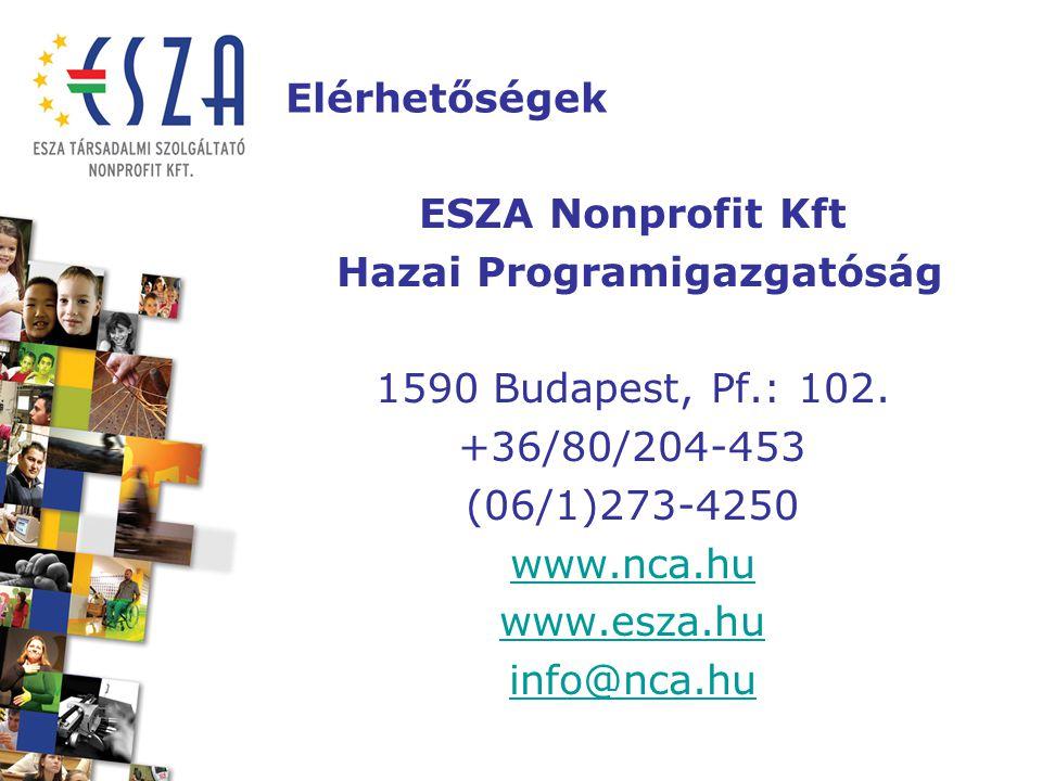 Elérhetőségek ESZA Nonprofit Kft Hazai Programigazgatóság 1590 Budapest, Pf.: 102. +36/80/204-453 (06/1)273-4250 www.nca.hu www.esza.hu info@nca.hu