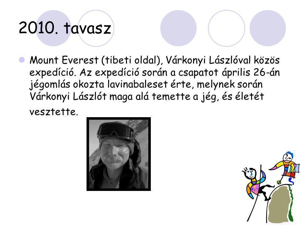 2010. tavasz  Mount Everest (tibeti oldal), Várkonyi Lászlóval közös expedíció. Az expedíció során a csapatot április 26-án jégomlás okozta lavinabal