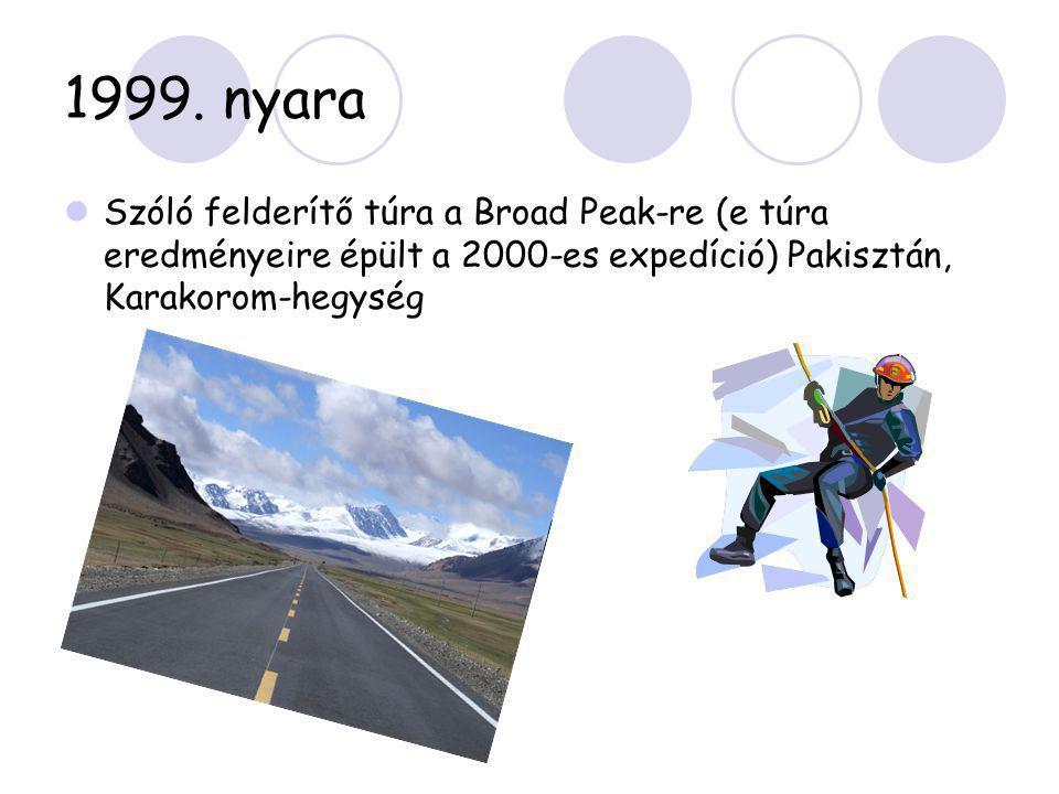1999. nyara  Szóló felderítő túra a Broad Peak-re (e túra eredményeire épült a 2000-es expedíció) Pakisztán, Karakorom-hegység