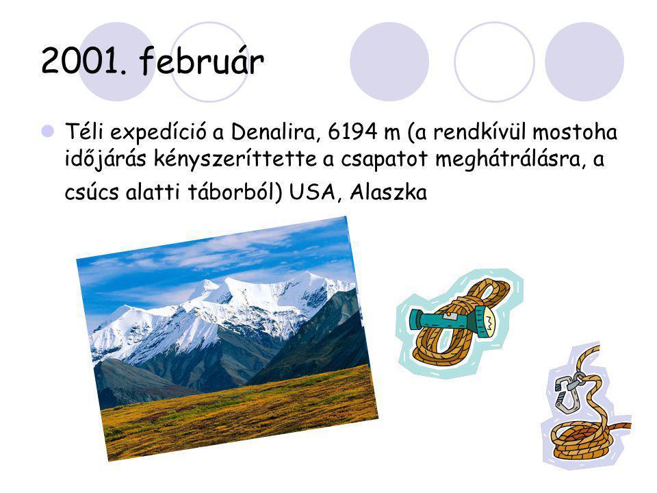 2001. február  Téli expedíció a Denalira, 6194 m (a rendkívül mostoha időjárás kényszeríttette a csapatot meghátrálásra, a csúcs alatti táborból) USA